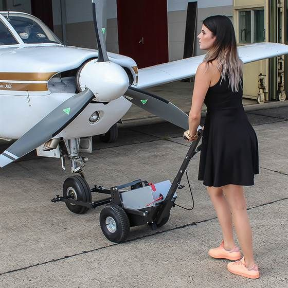 Selina is moving a Piper Lance PA32 with the Towflexx TF2 Aircraft Tug